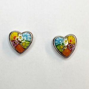 Alan K Sterling Silver Murano Glass Heart Earrings